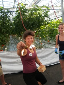 Claire Gérain-Lajoie of Lufa Farms hands out some tasty samples