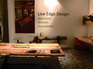 Live Edge Design showcasing their refurbished wood furniture