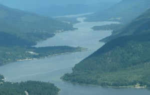 A view down Kootenay Lake as we headed towards the mountains.