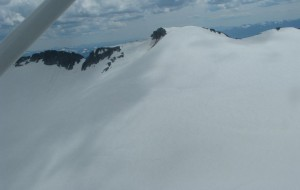 A wider shot of the Kokanee Glacier that captures its wide expanse.