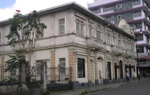 Modern architecture interspersed with colonial design.