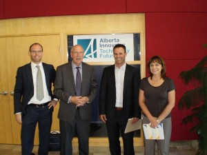 David Oswald and Edward Bell with representatives from the National Research Council of Canada in Calgary, Alberta
